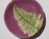 Small Handcrafted Purple Orchid Fern Trinket Dish