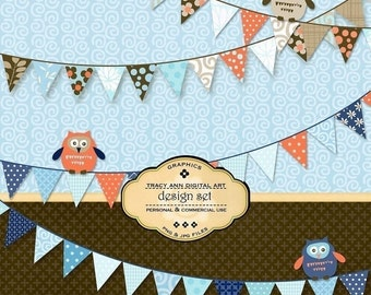 Owl digital paper and clip art set  -  commercial and personal use (Banner and Owls)