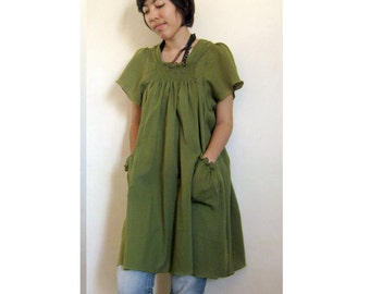 Olive Green Cotton Boho Simply Smock Around Neck Tunic Blouse S-L (H)