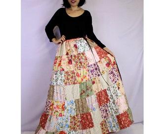 BoHo Hippie Unique Drawstring Long Floral Cotton Patchwork Plus Size (PW04)