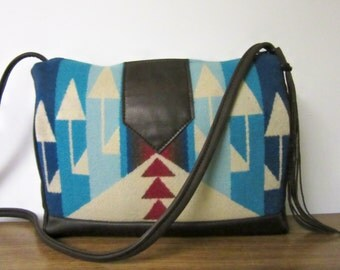 Cross Body Bag Purse Shoulder Native American Bag Dark Brown Leather Wool Tribal Print Arrows Southwest Style