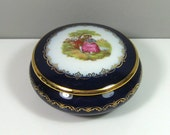 Limoges Luxe Round Porcelain Trinket Box Courting Couple Navy Blue Gold Trim Made in France