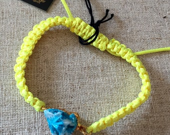 Dara Ettinger Neon Yellow Macrame Friendship Bracelet with 14kt gold plated Aqua Cavansite Crystal Cluster