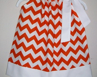 UT Dress Pillowcase Dress Chevron dress Texas Longhorns Girls Dresses Orange & White College Football Game Day dress Toddler Dresses