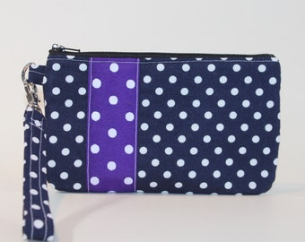 Wristlet / Padded Zipper Pouch - Navy Dots