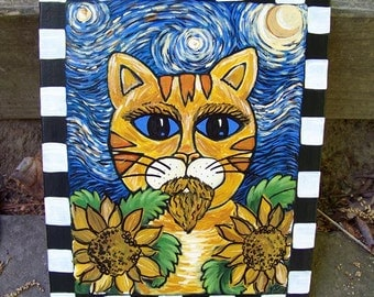 original painting on canvas, vincent van gogh, cat, kitty, tiger, sunflowers, creepy, ironic, outsider art, folk art