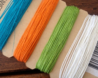 Hemp Cord 10 Lb Test, Turquoise, Orange, Green, and White 4140