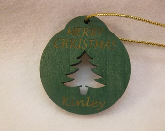 Personalized wooden christmas cut out Christmas Tree ornament or gift tag