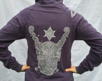 SALE Celtic Purple Gray Bull Hoodie Protection Pagan Stars Zip Up Knotwork Horns Cattle Triquetra Triskele Small, Medium Only
