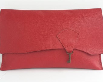 SALE Raw edge leather clutch purse with vintage key detail - post box red