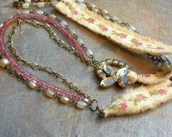 Upcycled vintage and gemstone assemblage NECKLACE