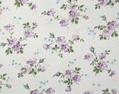 1940s Vintage Wallpaper by the Yard - Floral Wallpaper with Lavender and Blue Flowers on White