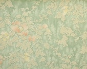 1940s Vintage Wallpaper by the Yard - Green and Peach Floral Damask