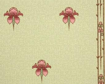 1900's Vintage Wallpaper - Antique Floral Art Deco Floral Pink and Green