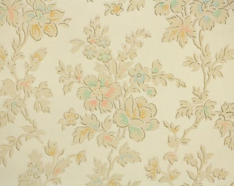 1920's Vintage Wallpaper - Antique Floral Aqua Coral and Yellow Flowers