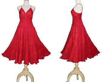 Long Red GYPSY PRINCESS Smock Maxi Dress Hippie Boho Size 16 18 20