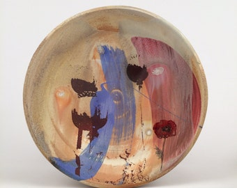Porcelain dinner plate with poppies