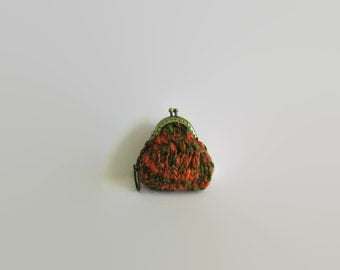 Coin Purse Keychain, Tweed Green Orange, Kiss Lock Coin Purse, Money Holder, Change Purse, Hand Knit Coin Purse, Small Coin Purse