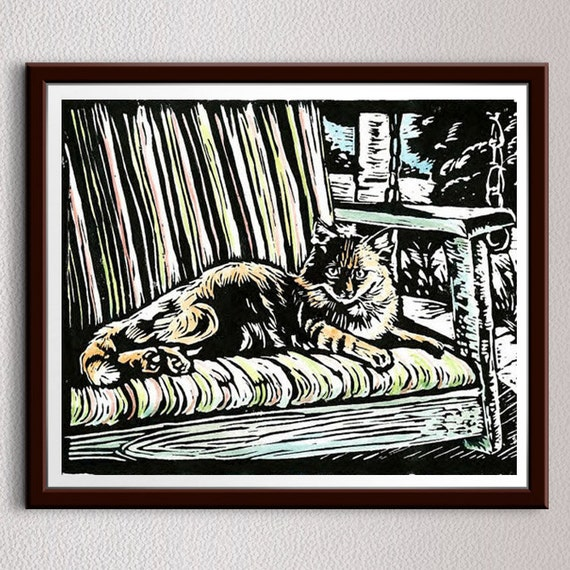 Cat On Swing, Linocut Print, Animal Art, Block Print, Art, Linoleum Print, Lino Cut Print, Relief Art Print, Art Print, Wall Art, Gift Idea