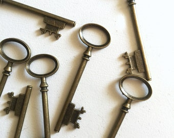 Long Antique Brass Skeleton Key Charms