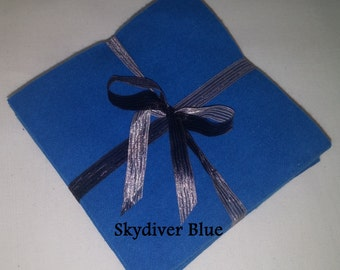 Solid SKYDIVER BLUE, FLANNEL Fabric Squares,  Rag Quilt, Traditional Quilting, pick size & quantity, We Cut You Sew