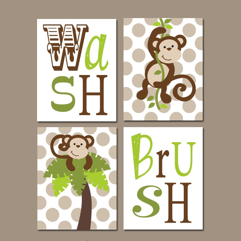 Monkey bathroom wall art boy bathroom artwork brothers for Money bathroom decor