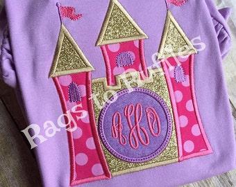 Princess Castle Applique Shirt- Personalized Princess Castle Shirt
