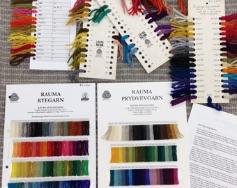 267 Colors!  Rya Yarn Sample Cards from Rauma, Asborya, Lundgren, and Vintage Swedish--Also rya backing swatches