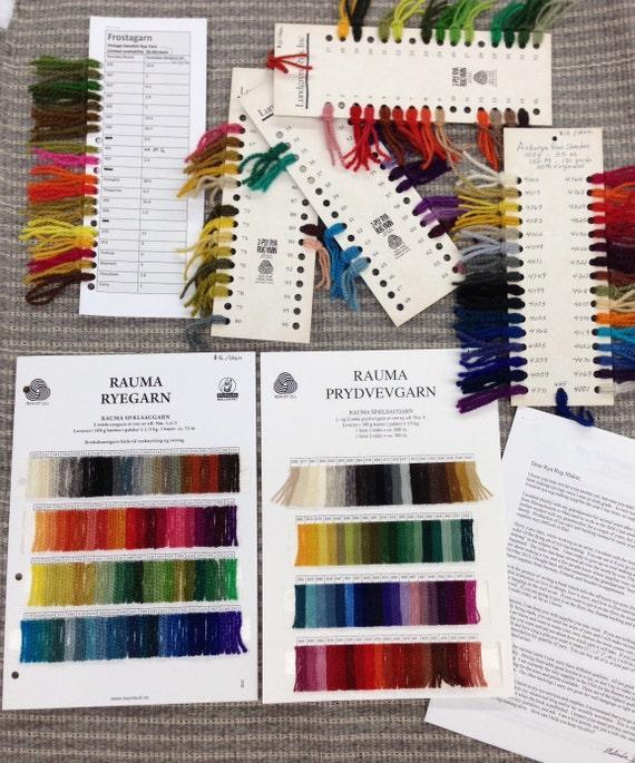 264 Colors!  Rya Yarn Sample Cards from Rauma, Asborya, Lundgren, and Vintage Swedish--Also rya backing swatches