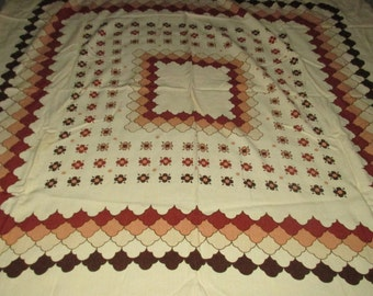 Last Call........Vintage MOD 70s Creme Tan and Brown Graphic Flower and Cloud Motif Tablecloth