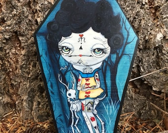 Snow white sugar skull tattooed girl limited edition coffin print reproduction art on Cedarwood, Cute Coffin 5 x 7