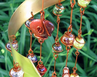 Rainbow Chakra Suncatcher with Gemstone Hearts & Copper Wire Wrapped Glass Marble Prisms, Metaphysical, Home Decor, Garden Decor