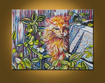 Cat in the Garden -- 18 x 24 inch Original Oil Painting by Elizabeth Graf on Etsy -- Art Painting, Art & Collectibles