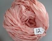 Chiffon sari ribbon, Recycled Silk Chiffon Sari ribbon, peach blush sari ribbon, peach ribbon