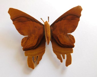 Vintage Jewelry Olive Wood Butterfly Brooch California
