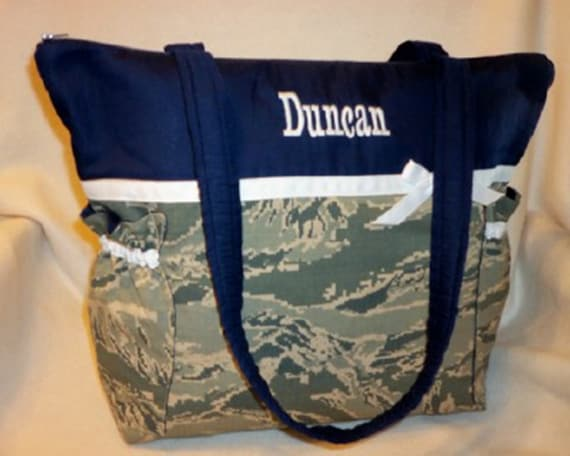 Military camo diaper bag in Airforce Army Navy Marines Duffle 3 sizes purse to duffle Great Baby shower gift add name dads diaper bag too