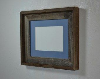 8 x 10 photo frame from reclaimed wood with 5 x 7 light blue mat.