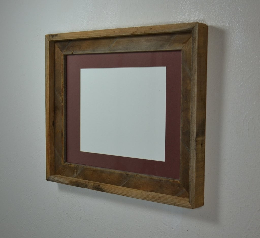 11x14 Brown Wood Picture Frame With 8x10 Mat Handmade In The
