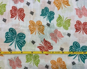 NEW Riley Blake Colorful Butterflies Double Gauze Cotton Woven fabric 1 yard