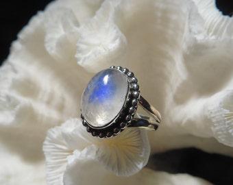 Beautiful Iridescent Moonstone  Ring Size 7.25