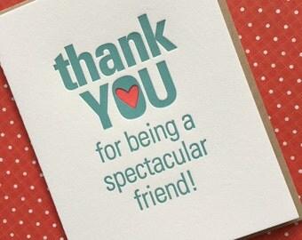 Letterpress Card - Thank You Friend