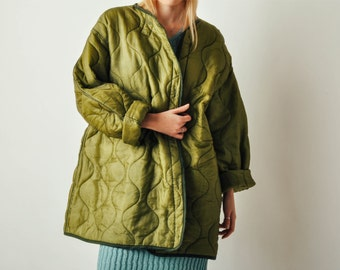 Vintage Army Green Quilted Liner Coat