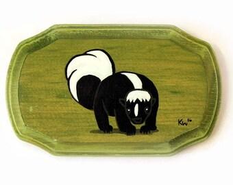 Skunk Painting- Original Animal Wall Art Acrylic Painting on Wood by Karen Watkins - Woodland Creature Painting - Skunk Art