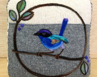 Needle Felted Blue Fairy Wren Pillow made from Recycled Sweater Wool Fabric by Val's Art Studio, Unique Room Decor, Wool Fabric Art Pillow