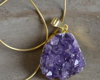 Druzy Amethyst Pendant Necklace
