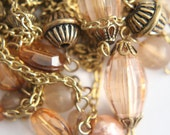 ONLY LOT - Vintage beaded chain - varied faceted pink and gold beads - over 4 1/2 feet