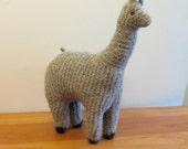 Plush Alpaca Stuffed Animal, Handknit Felted Tan Wool, Handmade by FeltedFriends