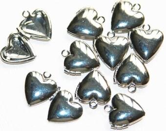 10  Silver smooth Heart Locket Pendant 13x15mm, puff heart locket, locket pendant, silver pendant