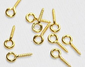 30 pcs of Gold plated Peg bail 12x5mm , Gold Peg bail