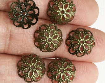 100 pcs of Antiqued  brass  filigree bead caps 12mm